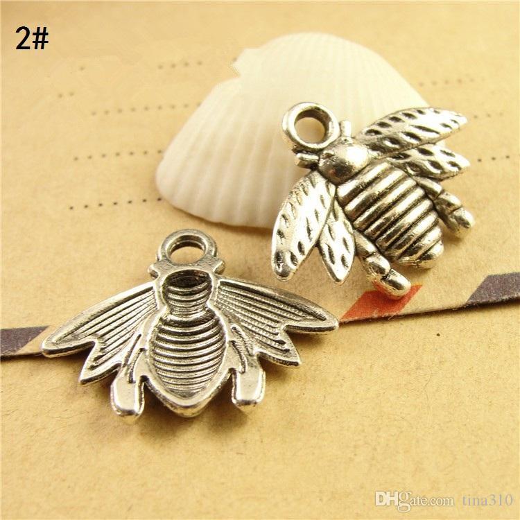 Großhandel - Mini Biene kleine Anhänger Halskette Anhänger Armband Anhänger Schmuck Charms zwei Farboptionen 16 * 21mm heißen handgefertigten A0632