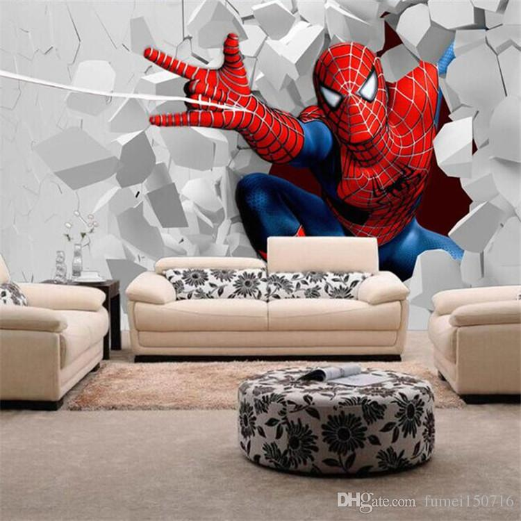 Spiderman Wallpaper For Bedroom: Spiderman Cartoon Theme Large Murals Boy The Wallpaper Of