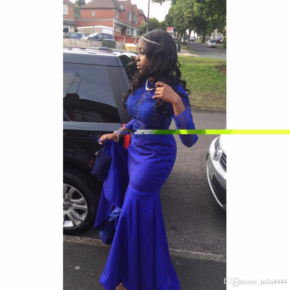 Uzun Kollu Gelinlik Modelleri Siyah Kız 2019 Afrika Kadınlar Örgün Akşam parti Kıyafeti Pageant Elbise Sheer Boyun Fermuar Geri Kraliyet Mavi Dantel