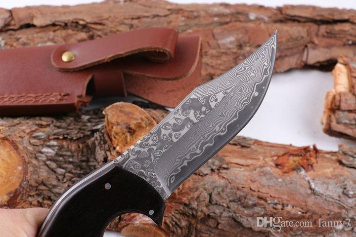 Promotion Damascus Steel Survival Straight Hunting Knife 58HRC Rosewood&Ebony Handle Fixed Blade Knives with Leather Sheath