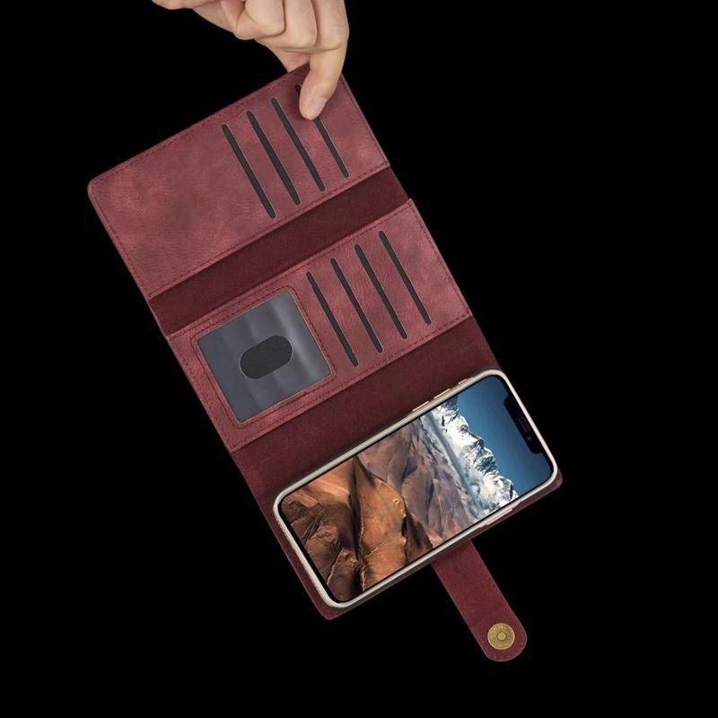 3 Fold 2in1 étui portefeuille en cuir pour iPhone 11 XR XS MAX 8 X 7 Galaxy Note 10 S10 S9 9 magnétique amovible détachable Retourner fente pour carte couverture