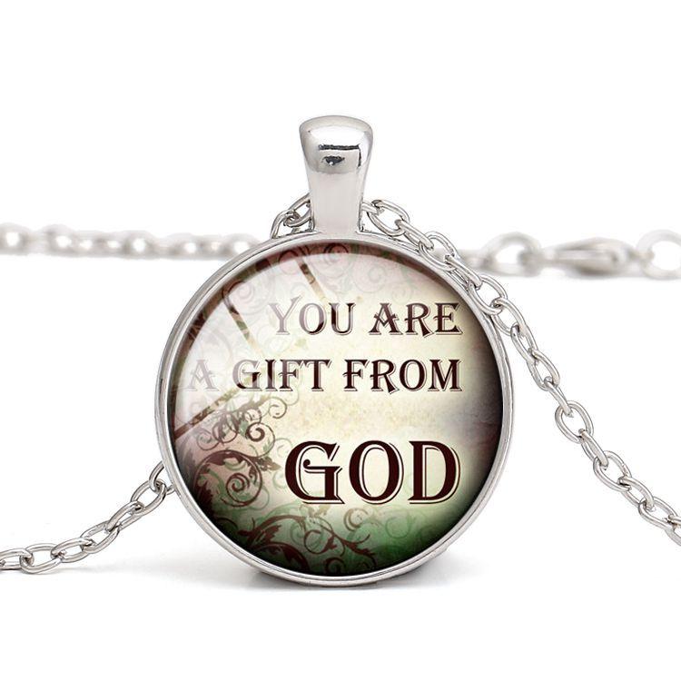 Wholesale Christian Quotes Pendant Necklaces God Bless Glass