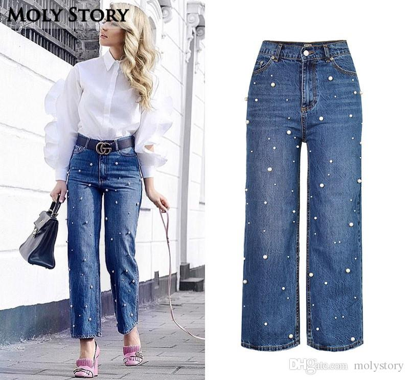 5684d9ca636 2019 New Fashion Pearl Wide Leg Jeans Women High Waist Casual Loose Ladies Jeans  Plus Size Flare Denim Pants From Molystory