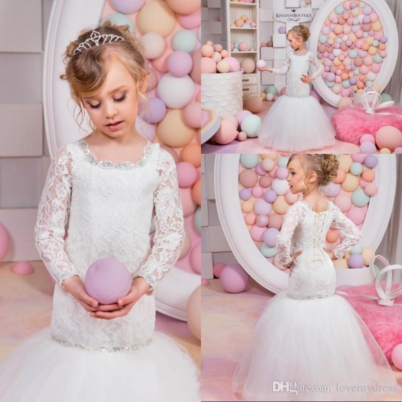 2d7a18e2f5 Sequin Dress For Girls Elegant Lace Long Sleeve Floor Length Mermaid Formal  Wear Sheath Custom Kids Cheap Communion Gown Fashionable