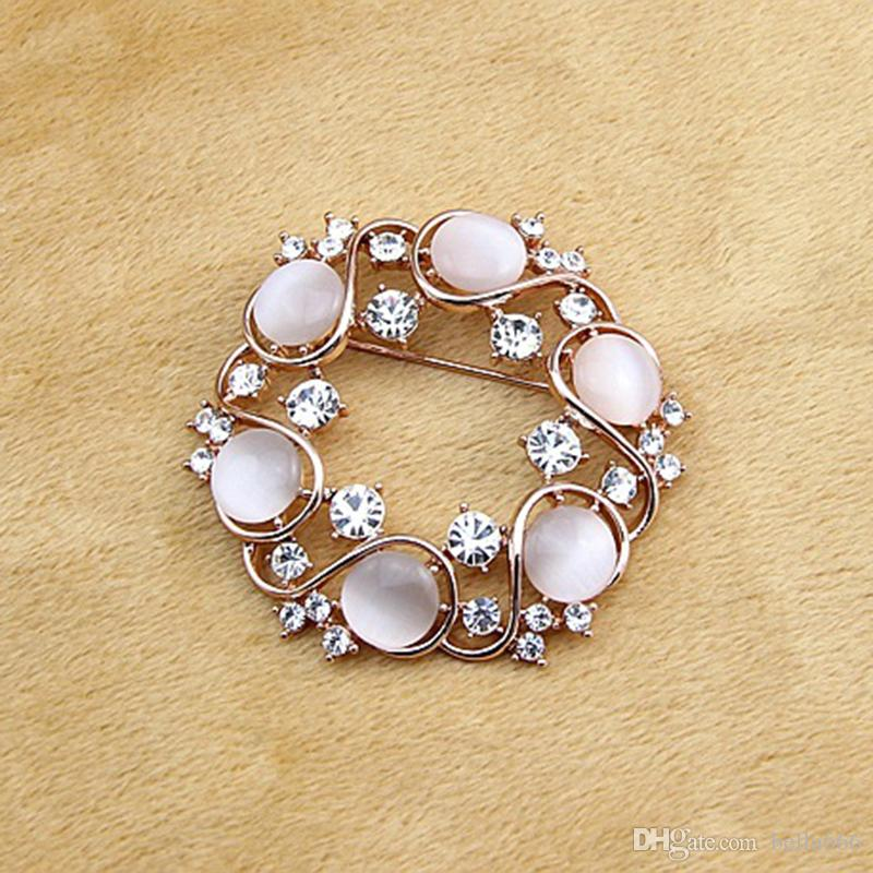 Fashion High Grade Flower Brooches Multicolor Cat Eyes White Crystal Gold Plated Women Jewelry Rosette Brooch Pins Accessory Gift