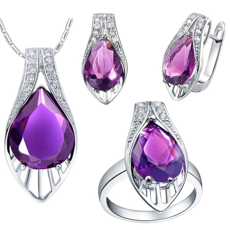 Plated NEW set of 925 Sterling Silver custom made pendant ear ring set with micro insert gem burst