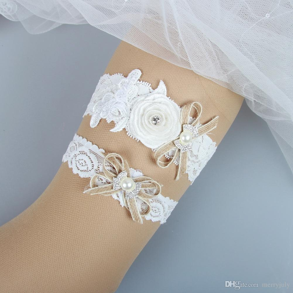 Why Two Garters For Wedding: In Stock Country Rustic Burlap Lace Wedding Garter