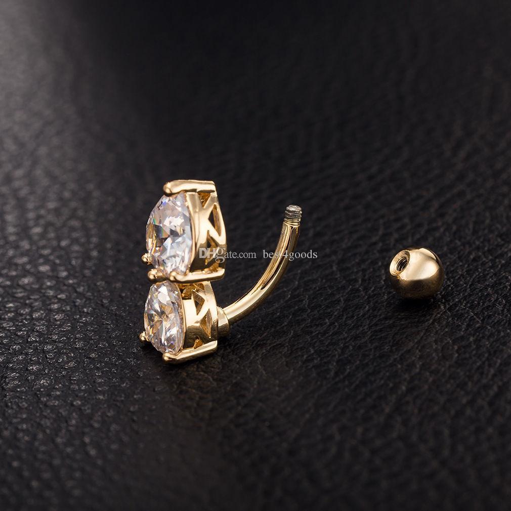 es inversa Crystal Bar vientre Anillo de Oro Piercing cuerpo de botón joyería del cuerpo de perforación del ombligo Corazón dos