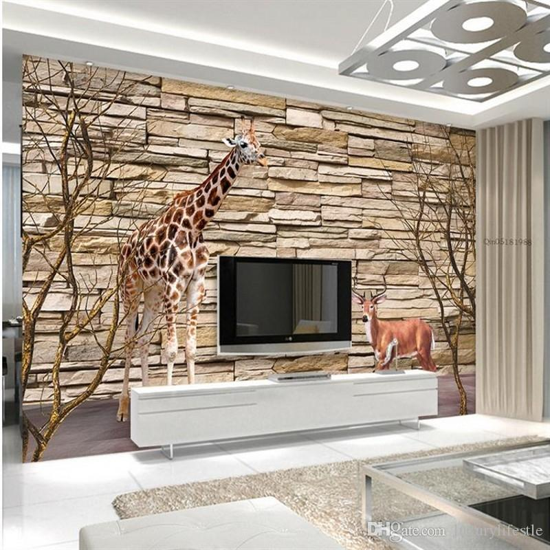 Custom 3d stereo custom wood wallpaper tv background sofa for Wallpaper for living area