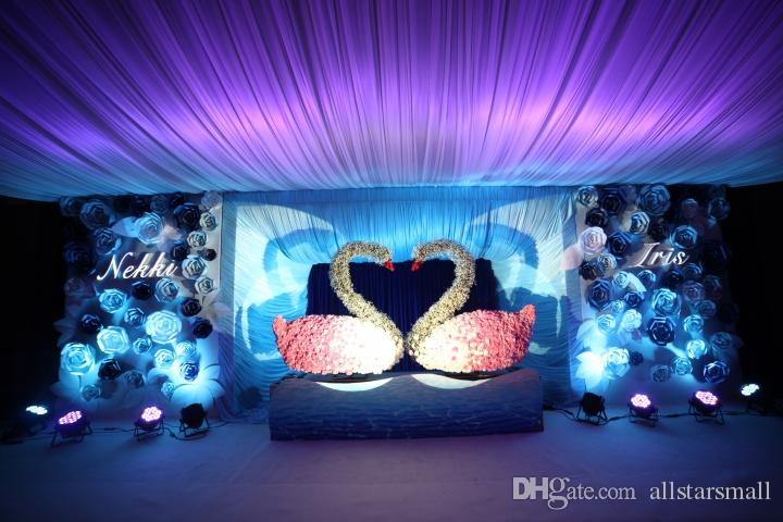 """59"""" w* 30' L 1.4m W* 100 m L Colorful Sheer Ice Silk Ceiling Drape Fabric for Wedding Party Decoration"""