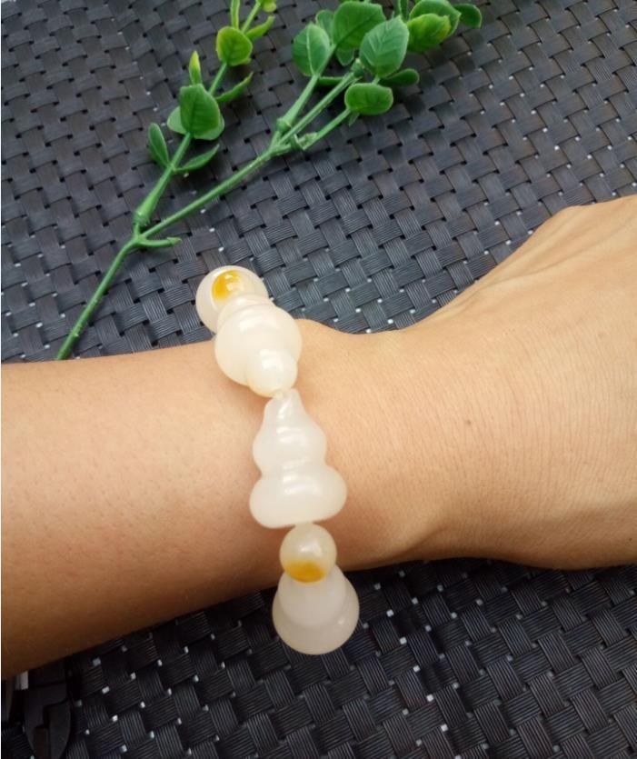 Natürliche echte Gold Jade Armband Perlen Kürbis weibliche Hand Kette Halskette Schmuck und Accessoires Jade Liebhaber