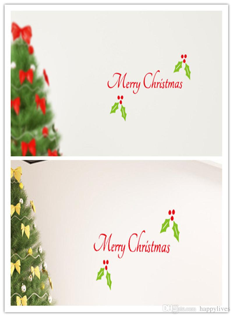 Merry Christmas Door Decal Vinyl Car Decal Quote Words Wall Diy Holiday Decor Christmas Wall Decoration Christmas Wall Stickers