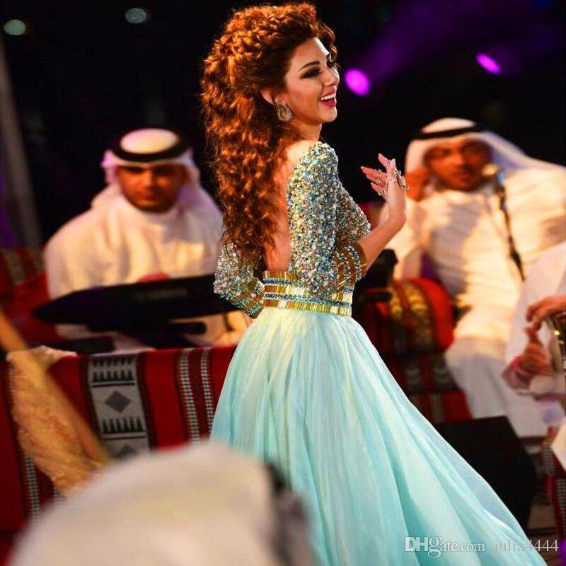 Mint Green Sparkly Crystal Abend Abendkleider mit 3/4 Langarm Nahen Osten Dubai Arabisch Alegant Major Perlen Anlass Abendkleider