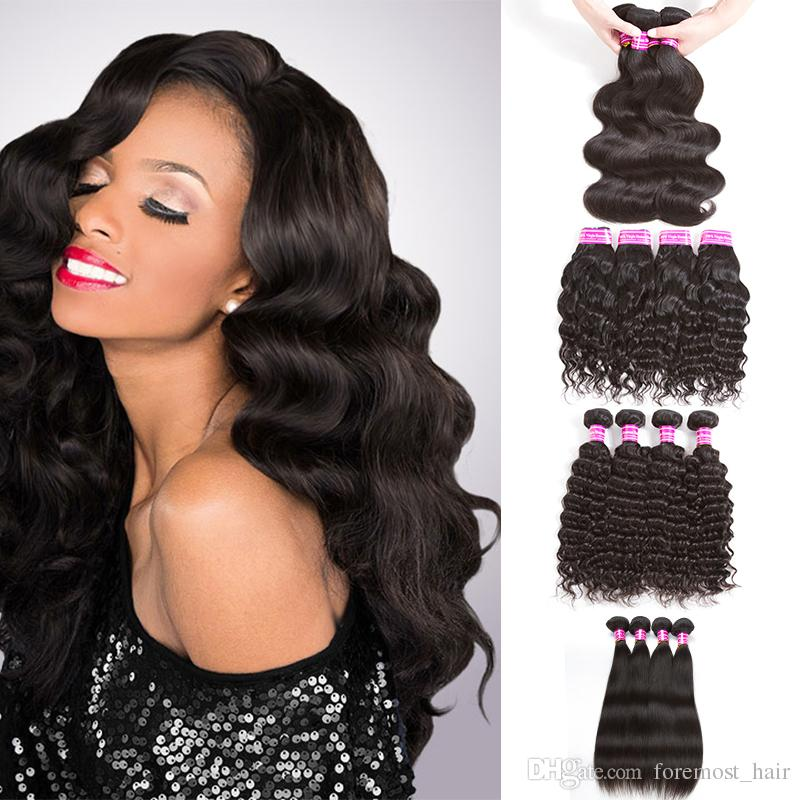 8a Natural Color Malaysian Hair Bundles Straight Body Wave Kinky