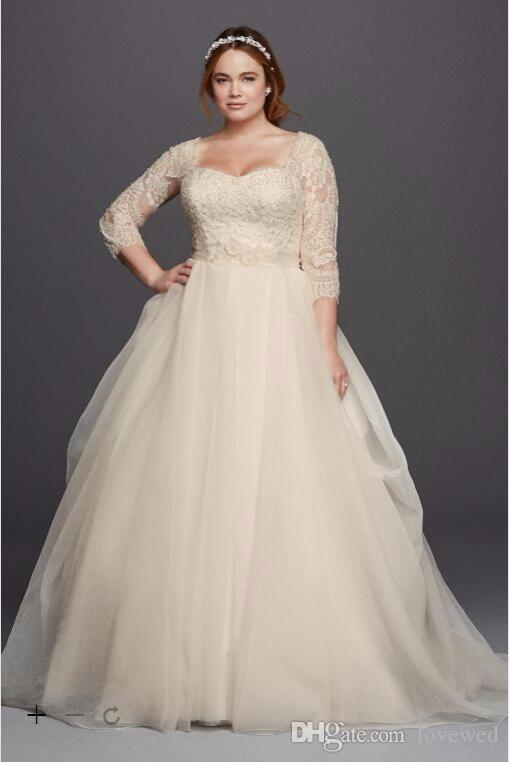 2017 plus size 3 4 sleeves lace ball gown wedding dresses for Plus size lace wedding dresses with sleeves