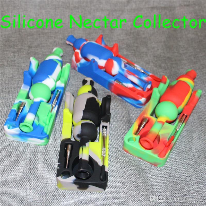 ful narghilè Silinectar con 120mm dabber silicone nettare collettore 10mm giunto ti chiodo 10mm maschio chiodo di titanio DHL