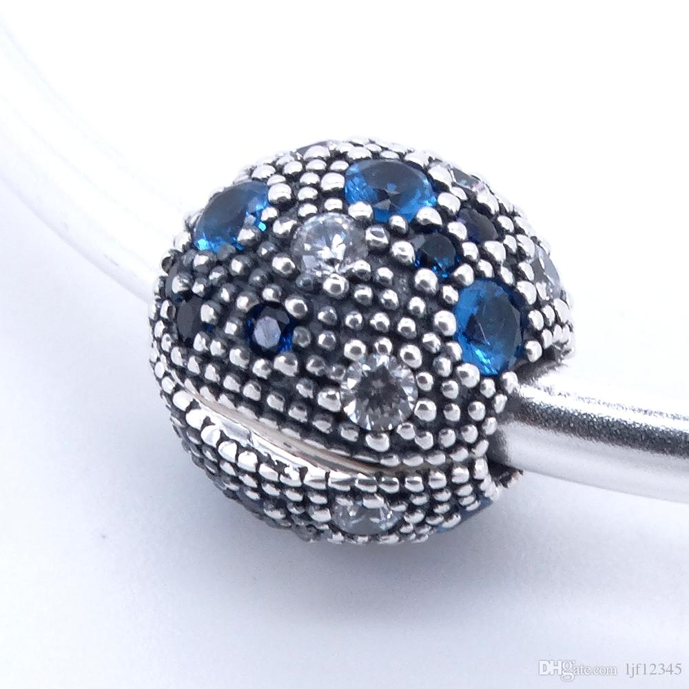 Round Clip Blue Cosmic Stars Charm Clips fit pandora charms bracelet & bangle for woman jewelry finding 925 sterling silver jewelry