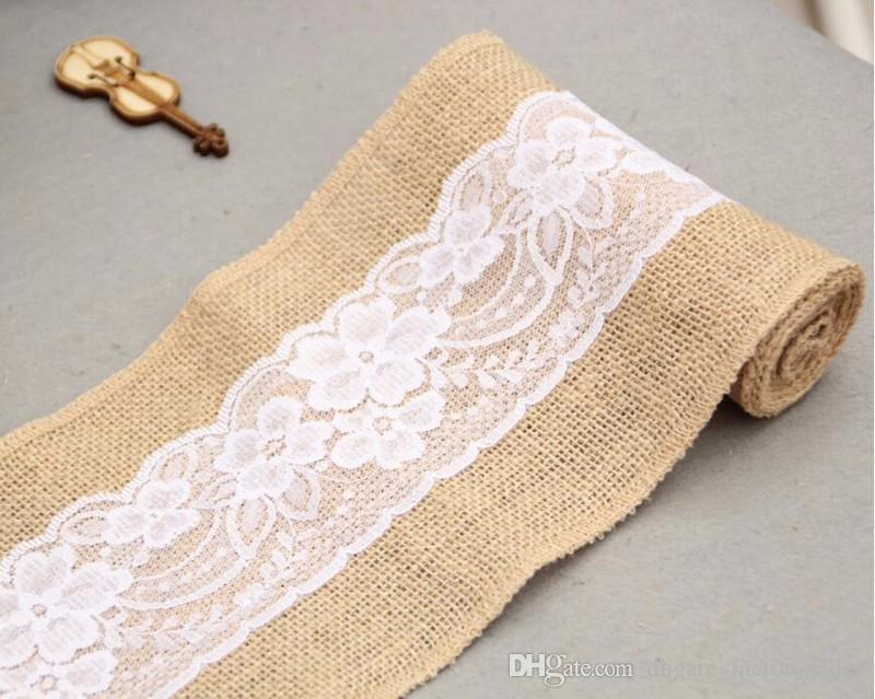 L'arco del legame della sedia della iuta della tela del pizzo della tela di iuta di 15 * 240cm naturalmente elegante la decorazione di evento rustica della festa nuziale
