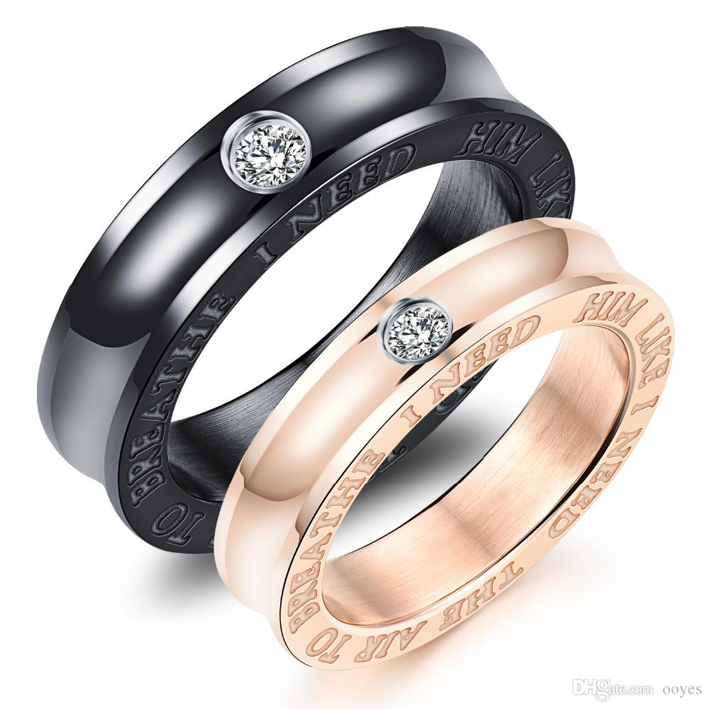 Inlaid Cubic Zirconia Couple Rings I Need Him Like I Need Air To ...