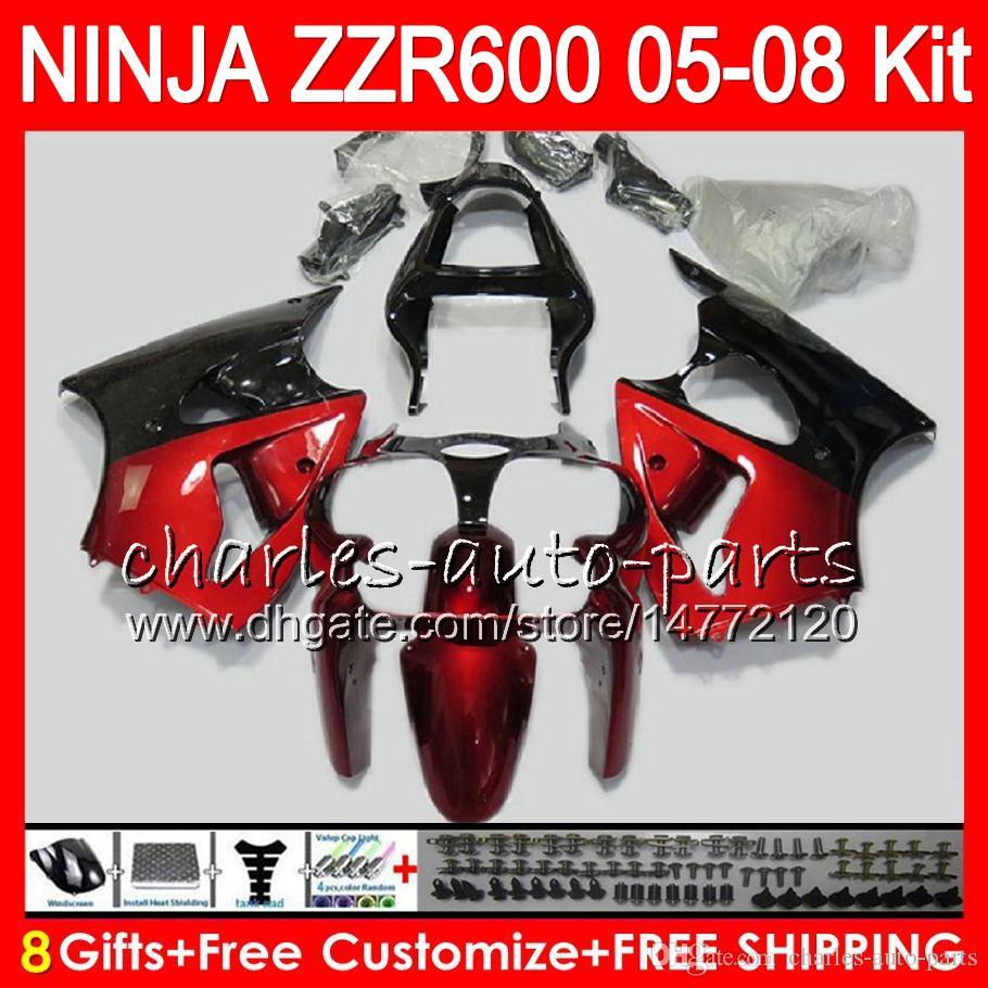 8Gifts тела для Kawasaki ниндзя с zzr600 05 06 07 08 32NO32 красный черный 600CC СЗР-600 zx600 инструкция по 05 СЗР 600 2005 2006 2007 2008 обтекатель комплект