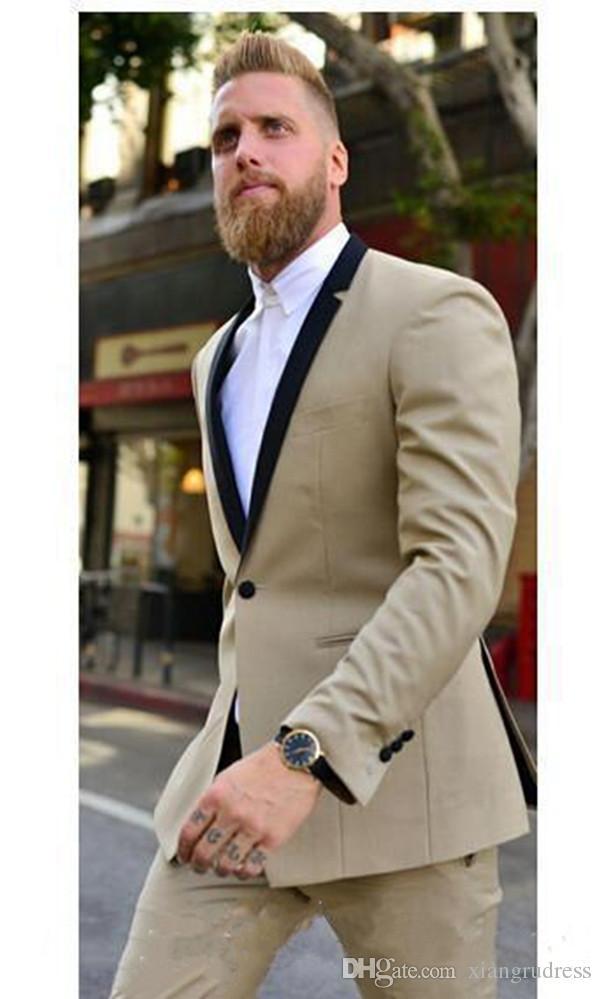 Acheter Nouvelle Arrivée Beige Smoking Homme Custom Made Fait Slim Fit Marié  Mariage Costume Mode Meilleur Homme Costume Veste + Pantalon De  72.62 Du  ... ccef213778c