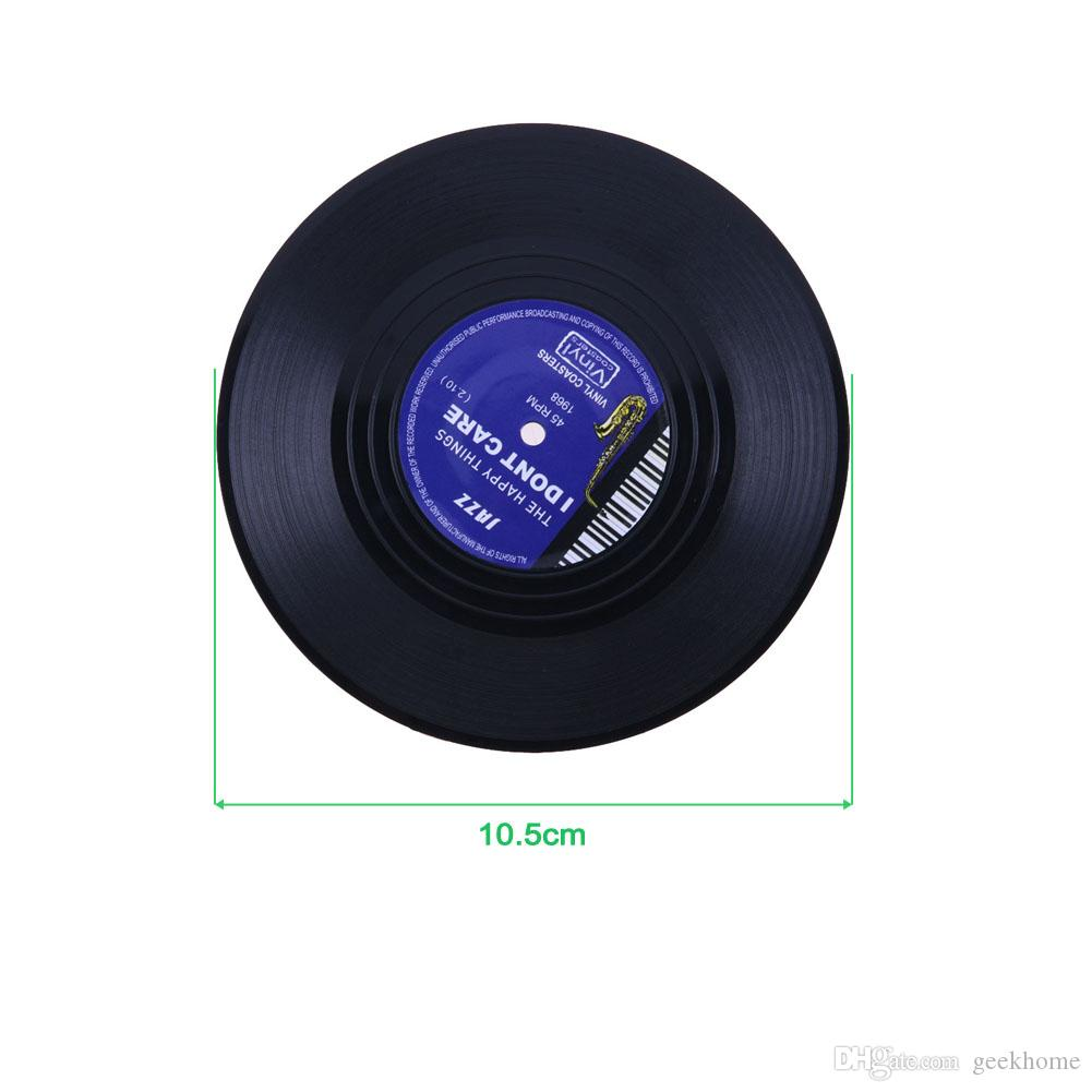 4 sztuk / zestaw Home Table Cup Cup Mata Creative Decor Coffee Dick Placemat Spinning Retro Vinyl CD Record Drinks Coverers