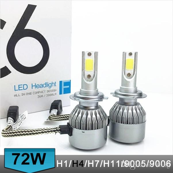 C6 2pcs/lot Car Headlights 72W 7600LM Led Light Bulbs H1 H3 H7 9005 9006 H11 H4 H13 9004 9007 Automobiles Headlamp 6000K Fog Lamps