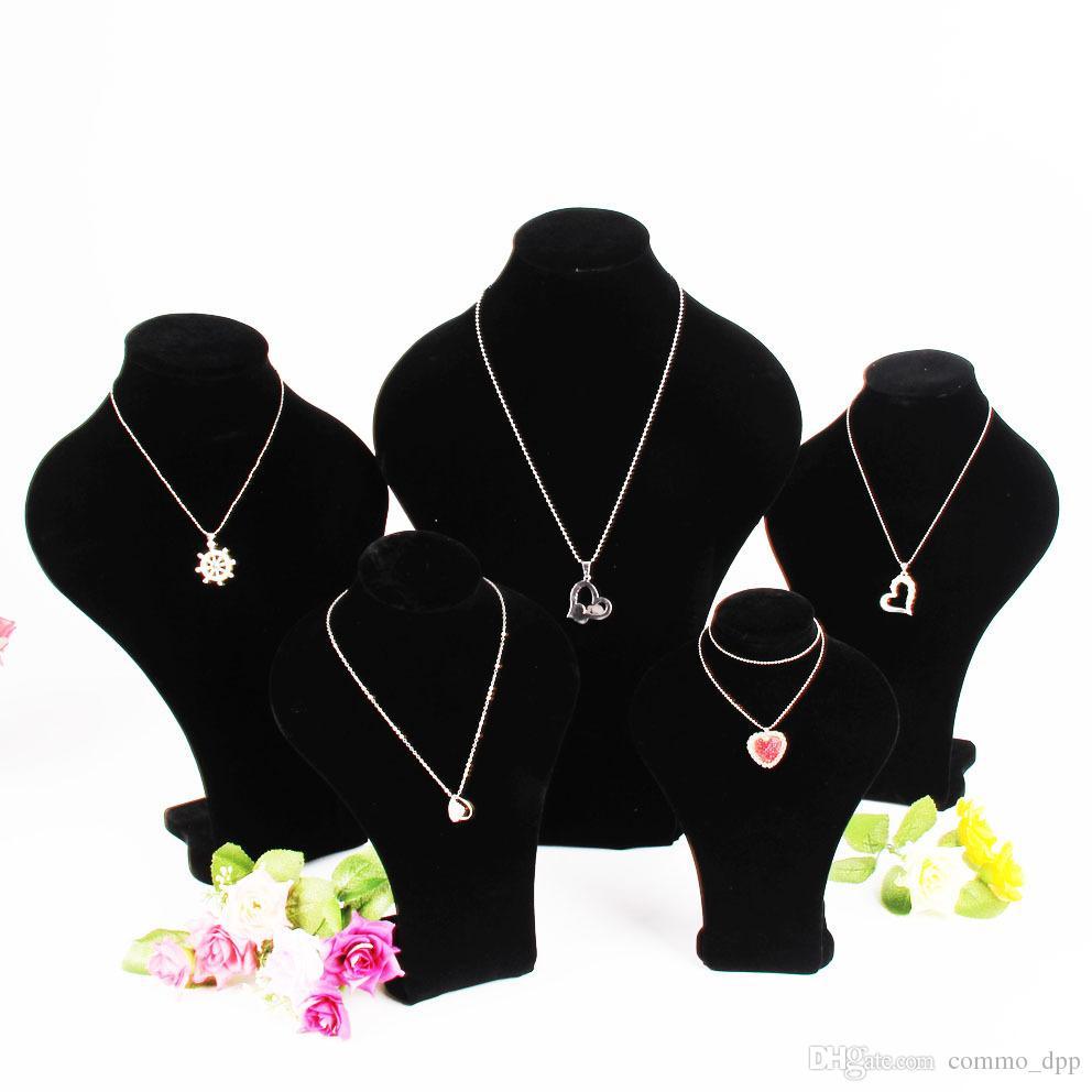 2017 Moda Preto Veludo Jóias Display Stand Mulheres Manequim Cabeças Retrato de Retrato Modelo Colares Exibe Gravata 5 Tamanho 5