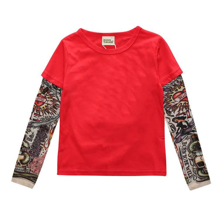 New Arrival 2017 Autumn Children T-Shirt Tattoo Pattern Long Sleeve Mesh Baby Boys Girls T shirts Cotton Tops Kids Tees