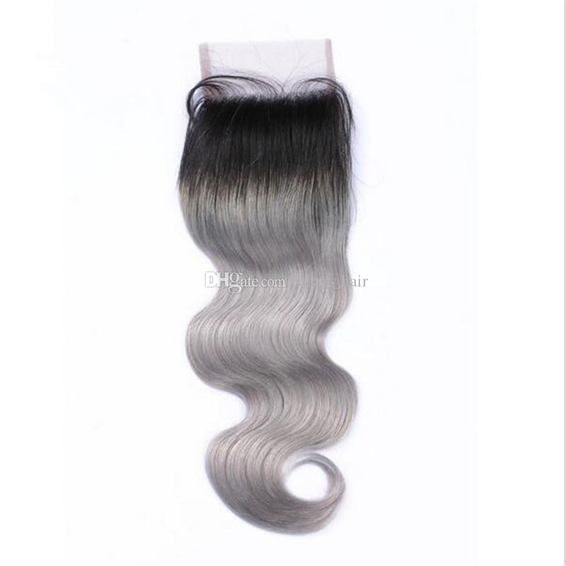 #1B/Grey Ombre Body Wave Hair Bundles With Lace Closure Free/Middle/Three Part Two tone Hair Weave With Closure 4*4 Body Wave