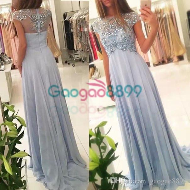 2017 Vestidos De Fiesta Elegant Evening Dress Short Sleeves Dusty Blue  Aline Beaded Robe De Soiree Prom Formal Party Dress Girls Evening Dresses  Halter Neck ... 4d0508b92bc9