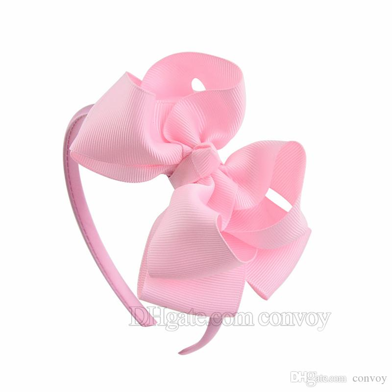 4.5 inch Baby Girls Ribbon Bow Hairbands Princess Boutique Grosgrain Hair Accessories Girl Plastic Hairbands Double Bows Hair Sticks KFG07