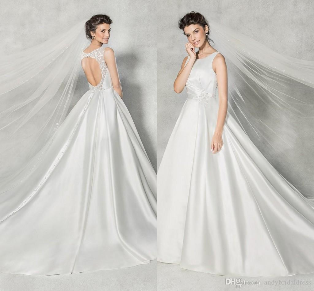 012bcb3705182 Vintage Sexy Open Back Satin Wedding Gown Bridal Dress Sleeveless ...