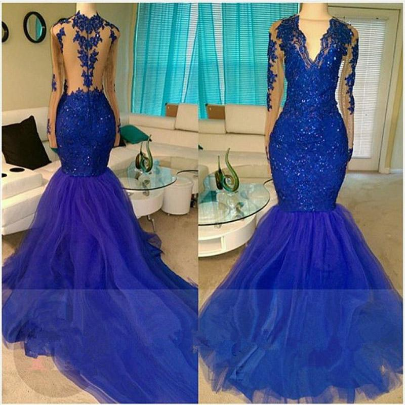Scollo a V Royal-Blue Mermaid Dress Beading Paillettes Tulle Appliques Prom Dresses a maniche lunghe Illusion Back Ruffle Sweep Train Evening Gwons