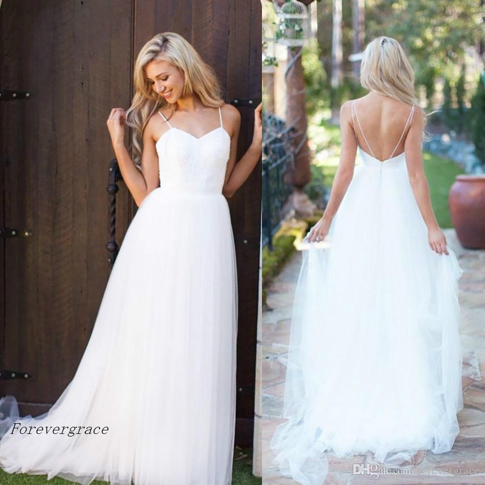 Discount Vintage Cheap A Line Simple White Tulle Long Boho Beach ...