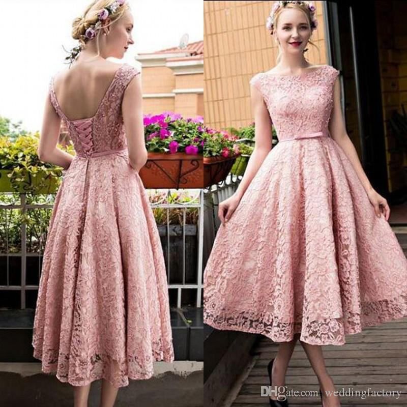 a915b58c8d 2017 Cheap Tea Length Prom Dresses A Line Blush Rose Pink Lace Party Dress  Sheer Bateau Neck Pearls Vintage Short Prom Dress Xscape Prom Dresses 1950s  Prom ...