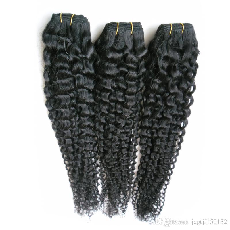 Черный бразильский кудрявый вьющиеся девственные волосы человеческие волосы ткать 300 г tissage кудрявый вьющиеся необработанные девственные бразильские наращивание волос пучки 3 шт.