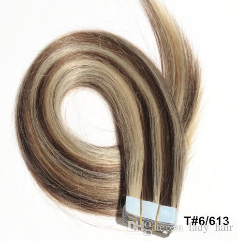 الجملة الشريط في الشعر الإنسان ملحقات حريري مستقيم البرازيلي الإنسان الشعر الشريط 40 قطعة / المجموعة الجلد لحمة الشعر