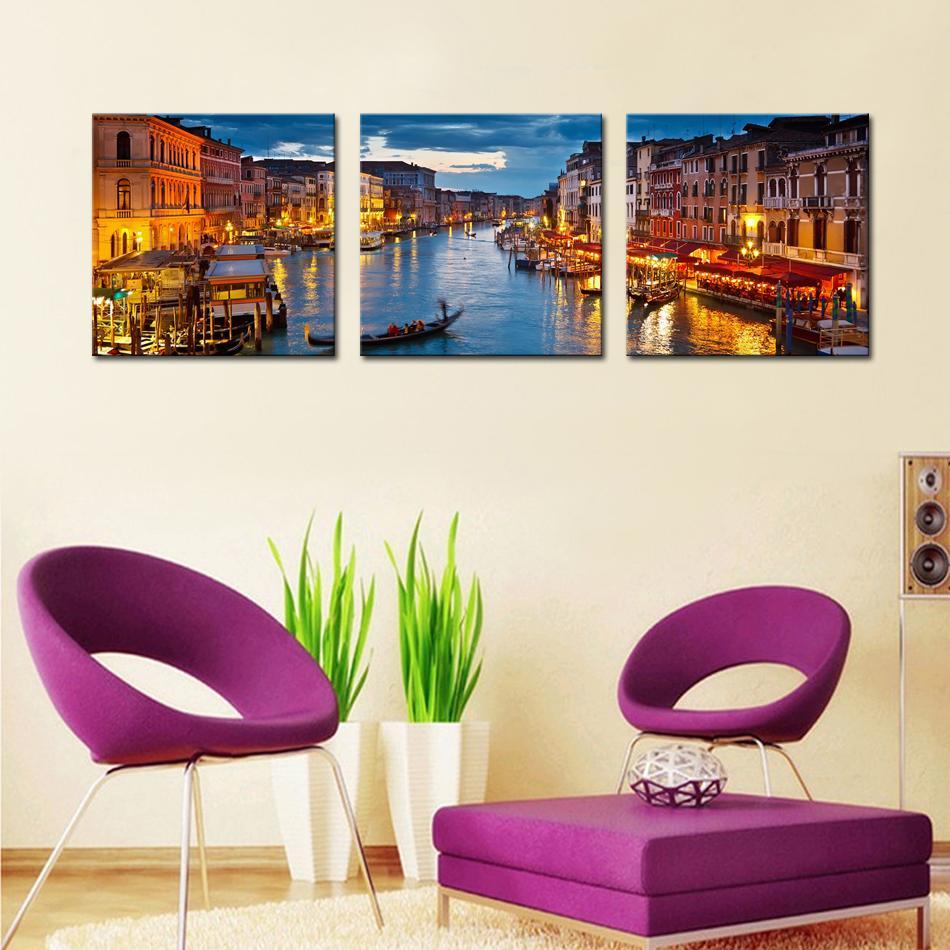 canvas prints 3 panels venice night view canvas paintings artwork