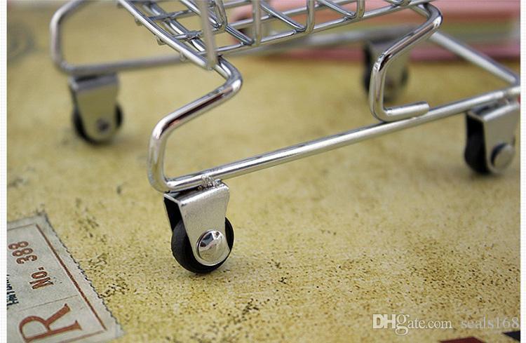 Mini Supermarkt Warenkorb Spielzeug Handwagen Metall Desktop Dekoration Modell Zubehör Lagerung Handyhalter Spielzeug Für Kinder XL-T34