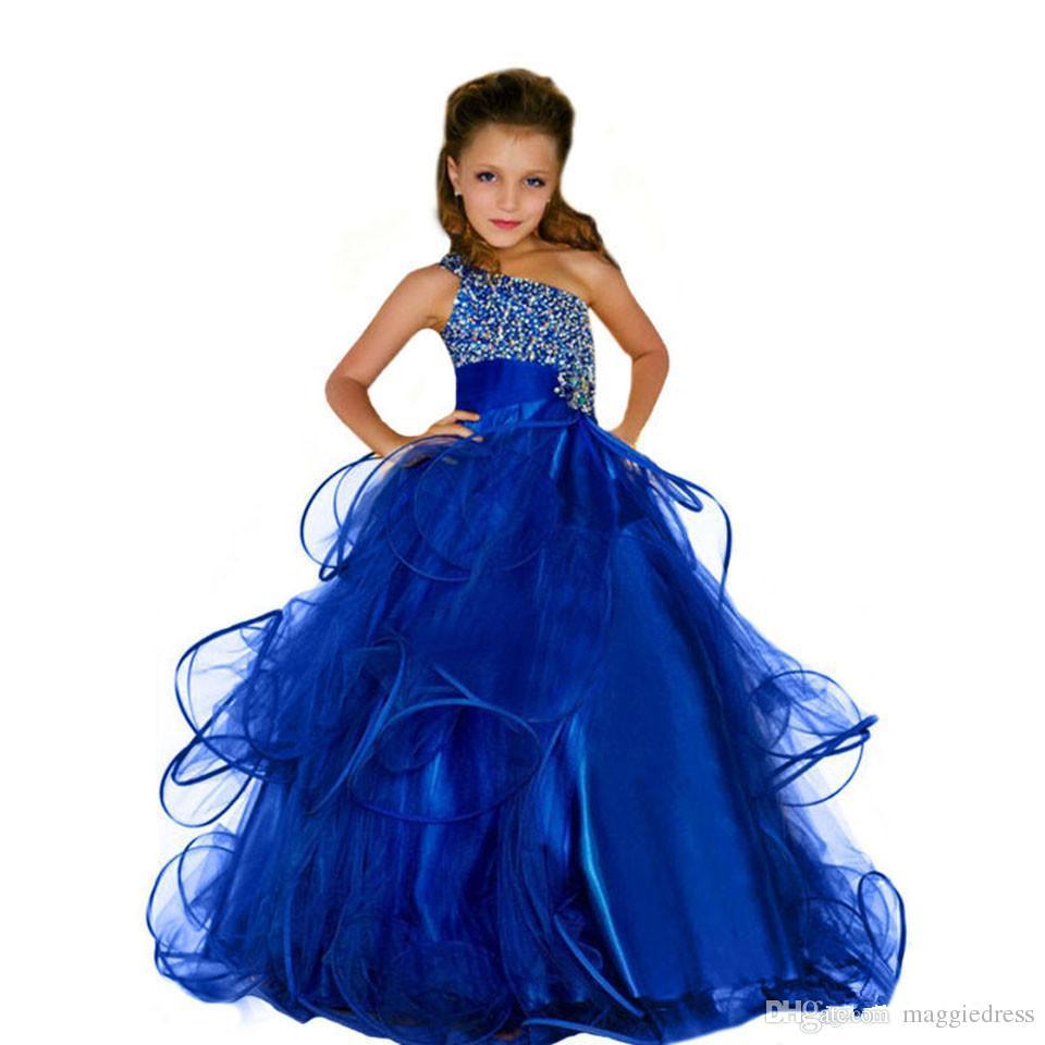 2017 Sheer Boyun Boncuklu Organze Lüks Bir Omuz Çiçek Kız Elbise Vintage Çocuk Alayı Elbiseler Güzel Çiçek Kız Elbise