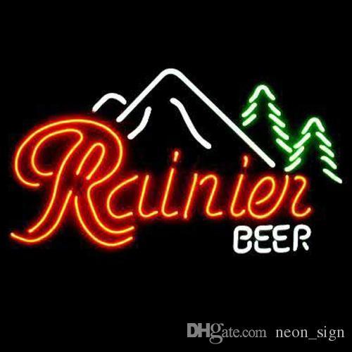 Rainier Beer Moutain Neon Sign Light Custom Handmade Real Glass Tube Store  Bar KTV Club Advertising Display Art Neon Signs Light 19 X15