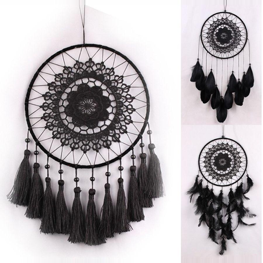 2019 Black Crochet Lace Flower Wind Chimes Dreamcatcher With Net