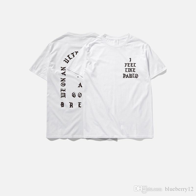 Moda Mens T Shirt Season3 eu sinto como pablo Tee Mangas curtas O-pescoço T-Shirt Kanye West Carta Imprimir Tshirt