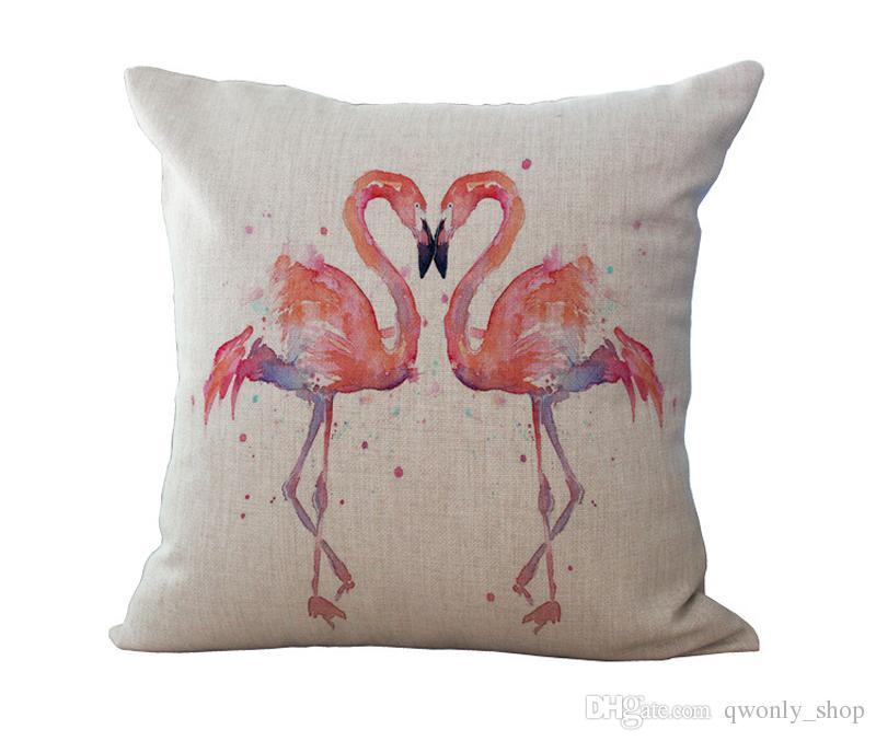 Pássaro Flamingo Fronha Capa de Almofada De Linho De Algodão Lance Fronha Sofá Cama Travesseiros 8 Cores