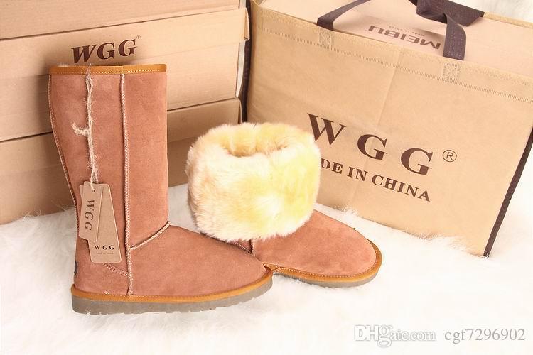 Yüksek Kaliteli WGG kadın Klasik uzun Çizmeler Bayan botları Çizme Kar çizme Kışlık botlar deri çizme ABD BOYUTU 5 --- 11