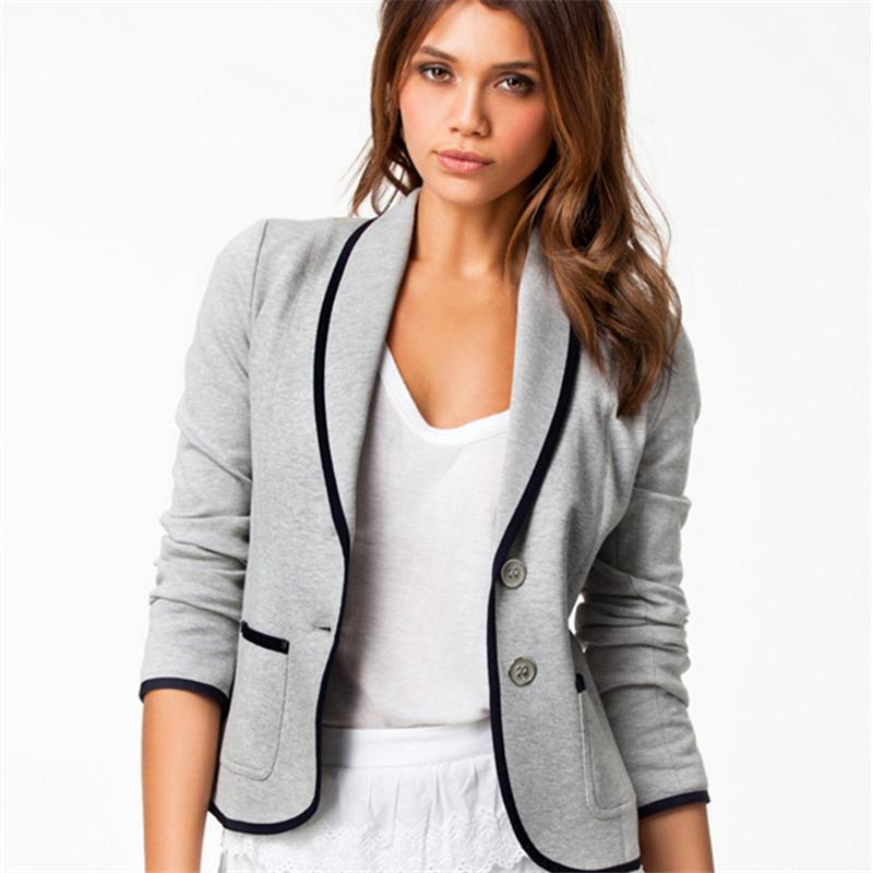 45b97cef8dc 2019 Plus Size 6XL Women Blazers Coat Outwear Autumn Fashion Elegant Office  Blazer Female Feminino Solid Gray Black Party Clothing From Vogogirl
