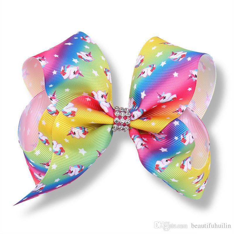 12CM licorne arc-cheveux arc avec clip en épingle à cheveux Barrettes avec strass bowknot Centre Belle Huilin AW96