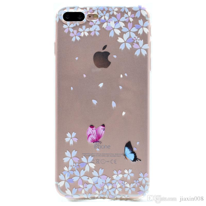 Transparent TPU Cover For Apple iPhone 7 Plus Case Fashion Tower bike Butterfly Girl Feather Design Mobile Phone Cases For iPhone 8 Plus