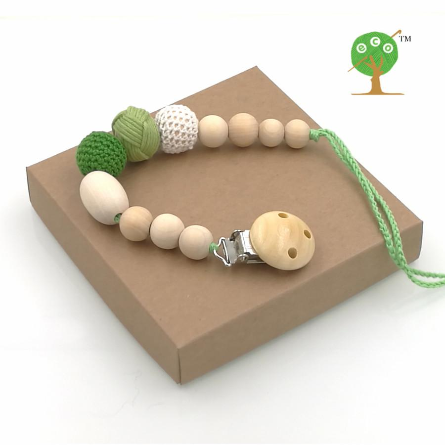 2019 Wholesale Eco Friendly Fade Green Crochet Beads Pacifier Clip
